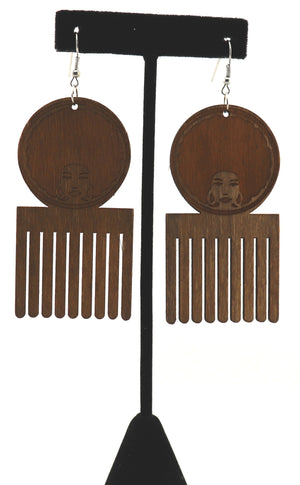 Black Girl Afro Comb Earrings