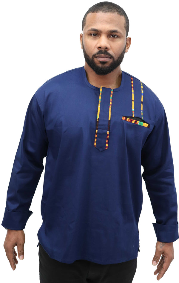 Long Sleeved Polo Style Shirt w/ Woven Kente - 001