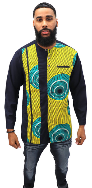Long Sleeved Polo Style Shirt w/ African Print - 005