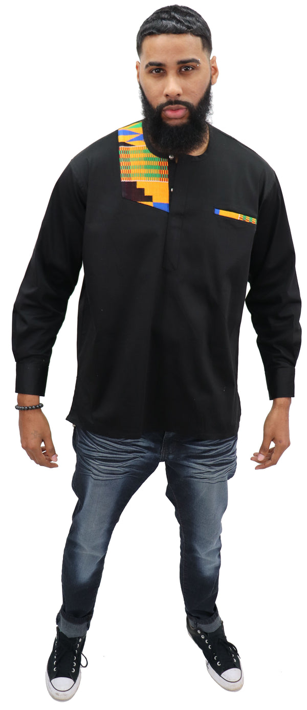 Long Sleeved Polo Style Shirt w/ Woven Kente