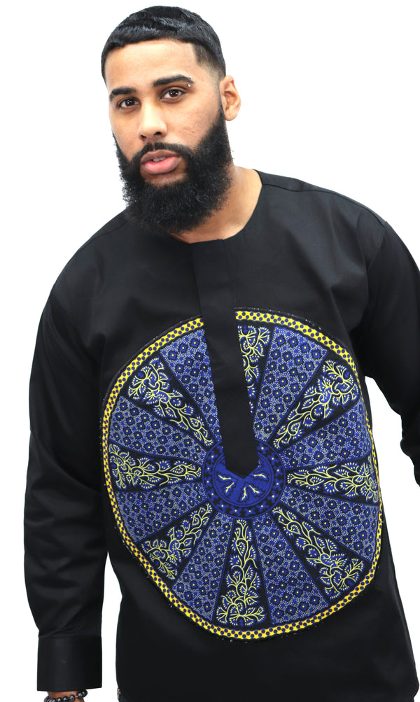 Long Sleeved Polo Style Shirt w/ African Print 004