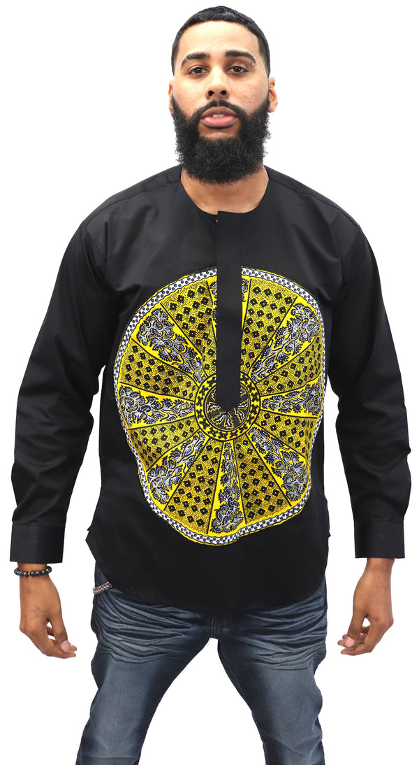 Long Sleeved Polo Style Shirt w/ African Print - 001