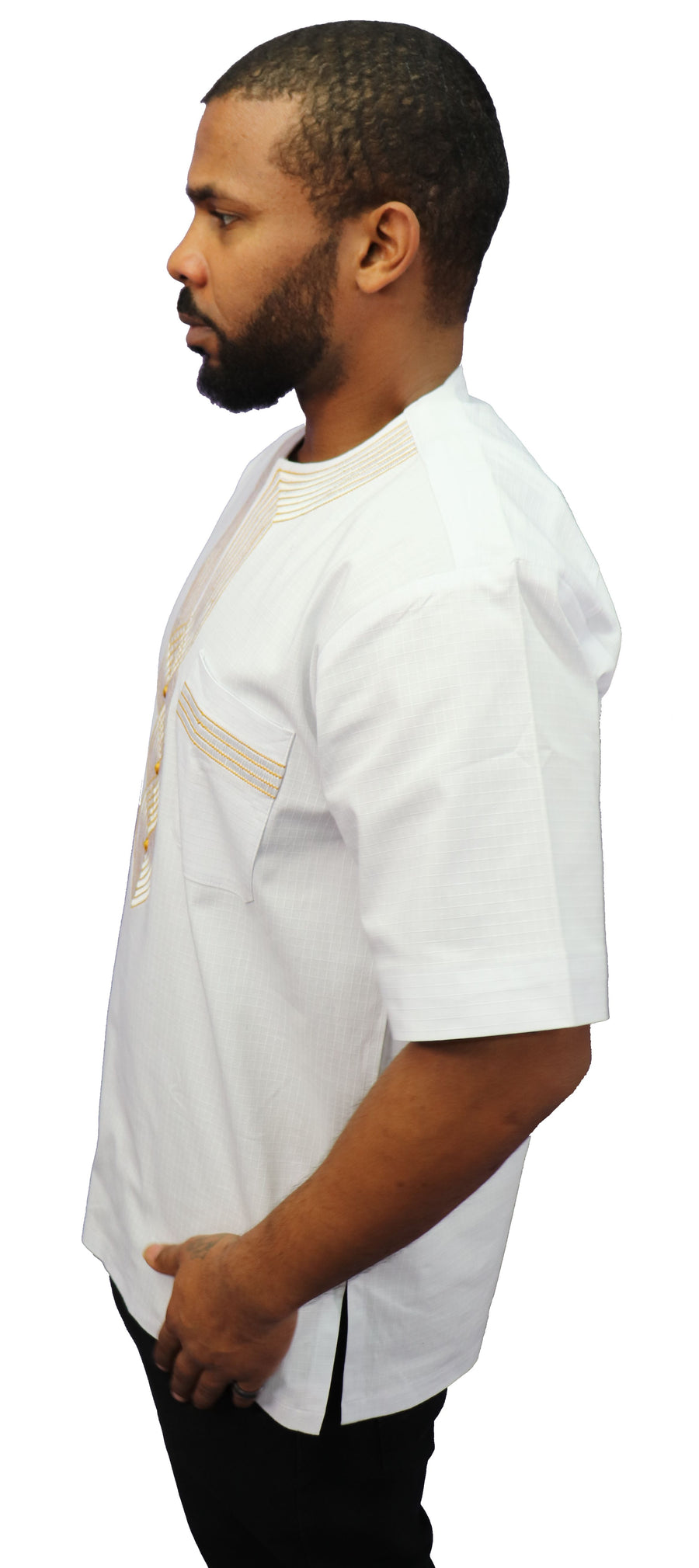 African Embroidery Short Sleeve Dashiki (Gold Thread) - 002