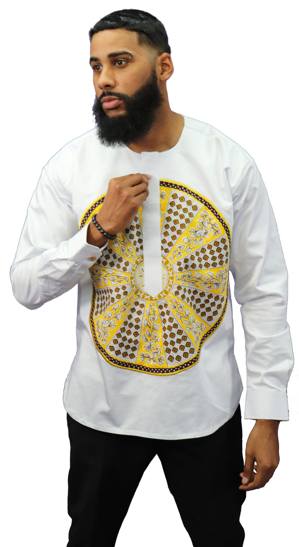 Long Sleeved Polo Style Shirt w/ African Print - 02