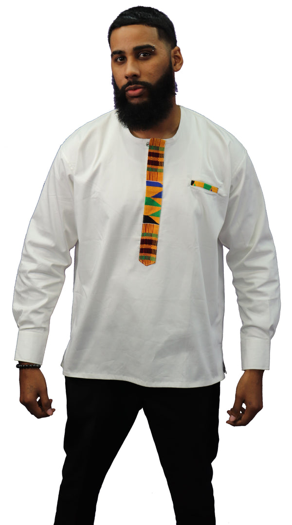 Long Sleeved Polo Style Shirt w/ Woven Kente - 002