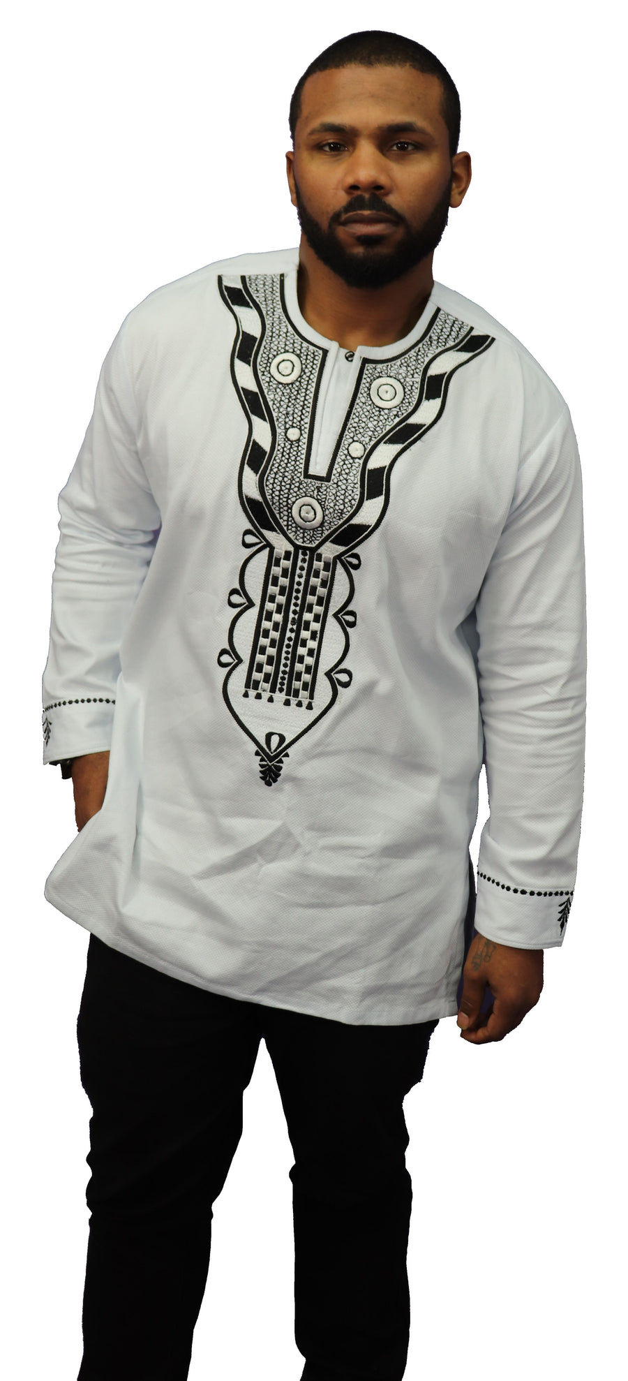 African Embroidery Long Sleeve Dashiki (Black Thread) - 001
