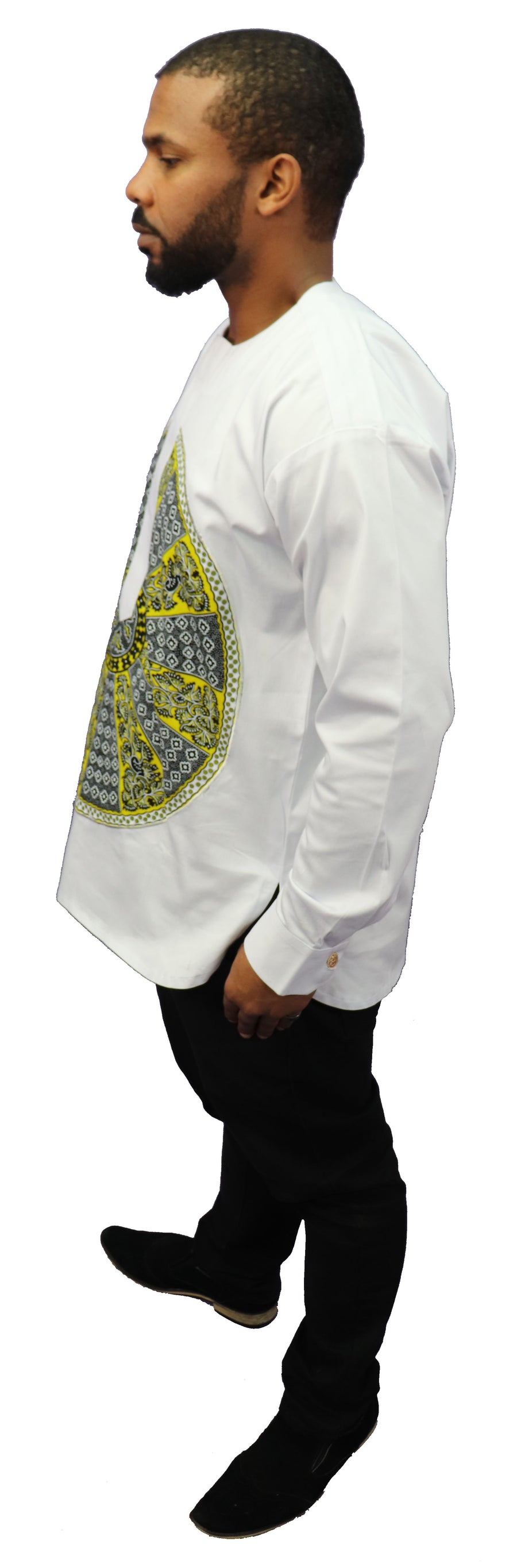 Long Sleeved Polo Style Shirt w/ African Print - 03
