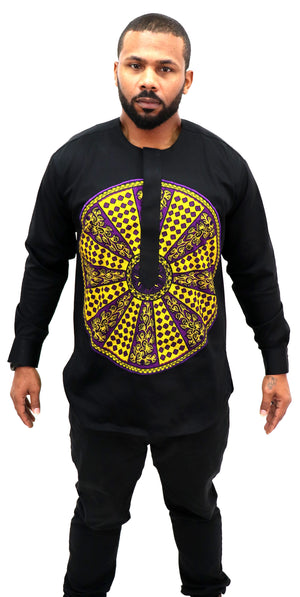 Long Sleeved Polo Style Shirt w/ African Print 005