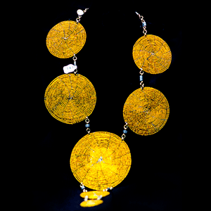 Round in Circles Yellow Maasai Necklace