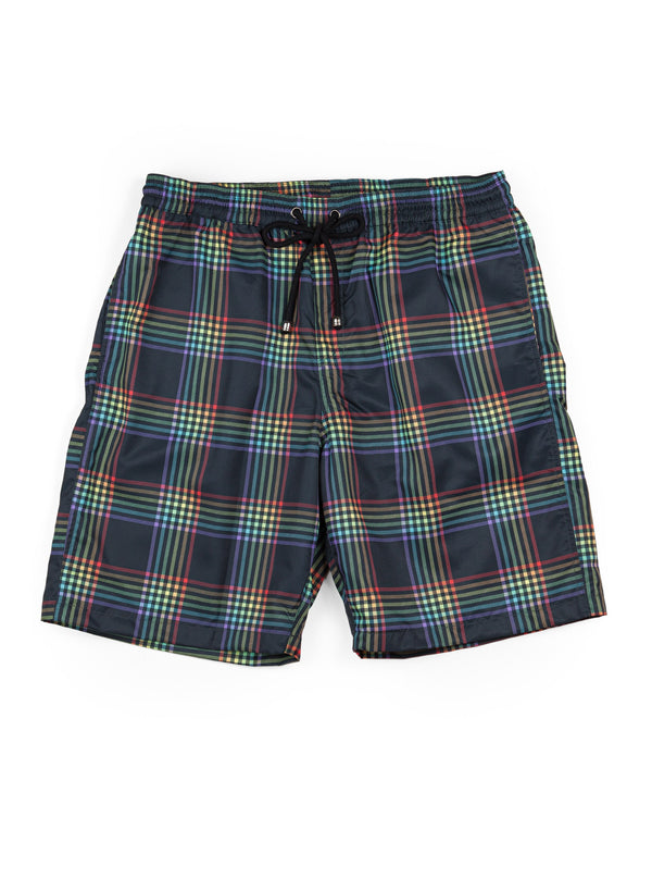 Young Mens Rainbow Tartan Board Short