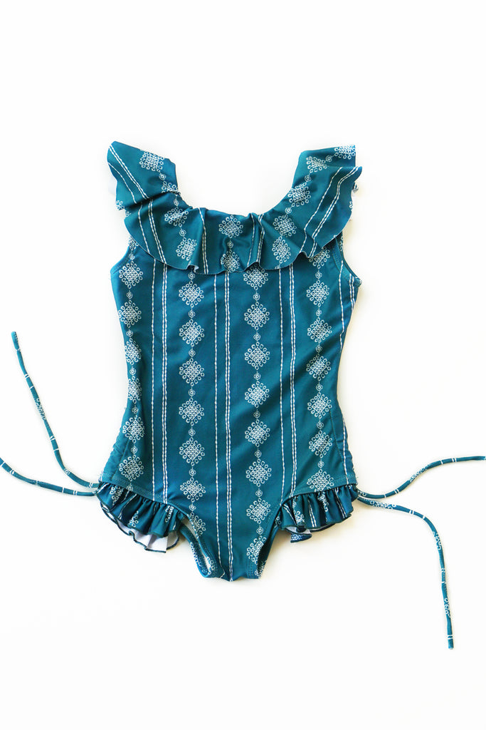 Teal / Green Ruffle One-Piece