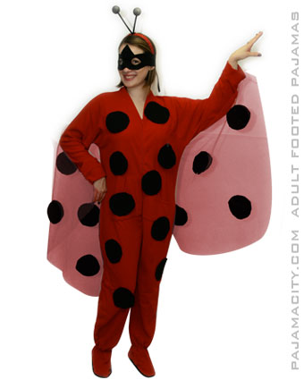 How to Make an Adult Ladybug Costume  sc 1 st  Pajama City & DIY Ladybug Halloween Costume Idea Using Footed Pajamas u2013 Pajama City