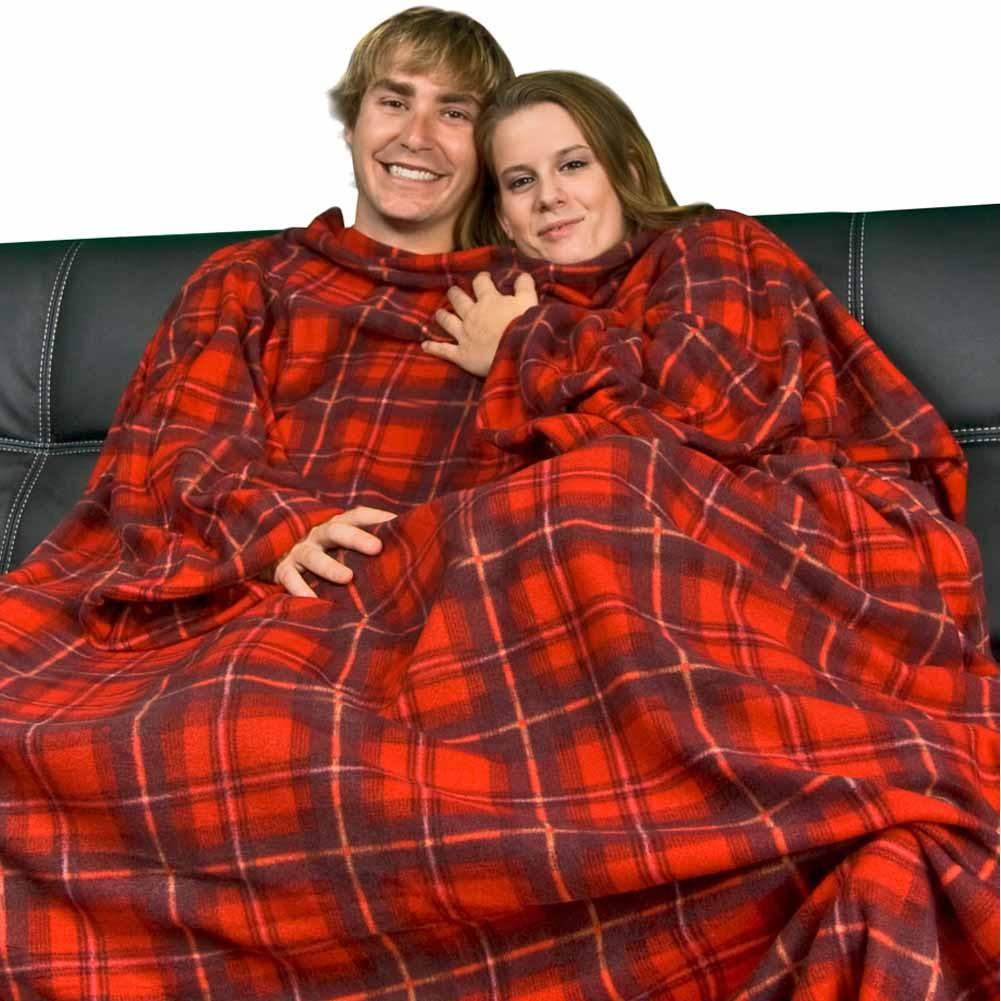 Red Plaid Polar Fleece Dutch Oven Blanket with Arms, Pajama City - 1