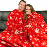 Red Snowflakes Dutch Oven Blanket with Sleeves, Pajama City - 1