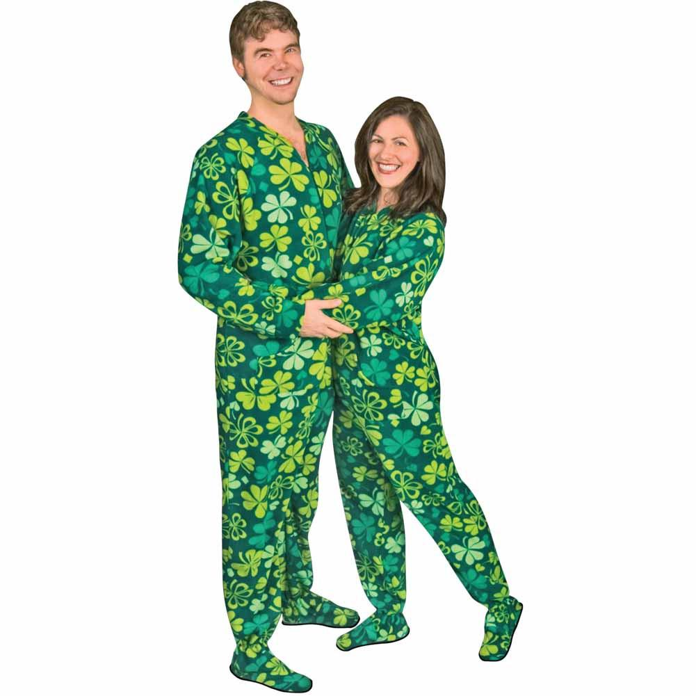 Shamrocks & Clovers Drop Seat Footed Pajamas, Pajama City - 1