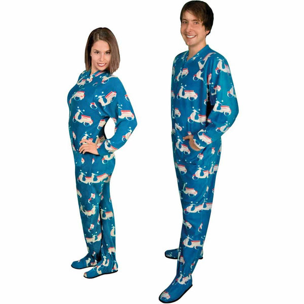 Adult Footed Pajamas With Butt Flap Christmas Trees and