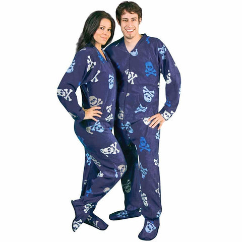 0175bcd3c7b9 Skulls Fleece Adult Footed Pajamas with Drop Seat and Long Night Cap