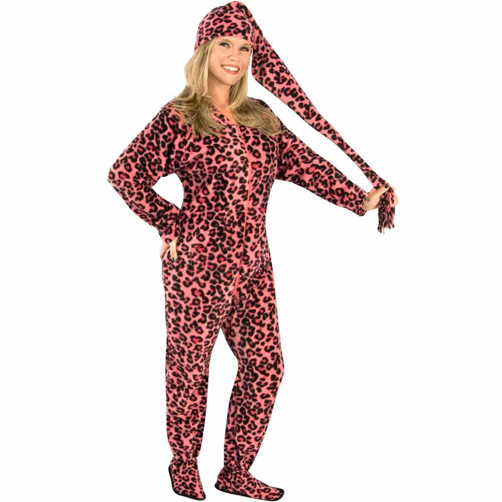Pink Leopard Adult Footed Pajamas with Drop Seat and Long Night Cap, Pajama City - 1