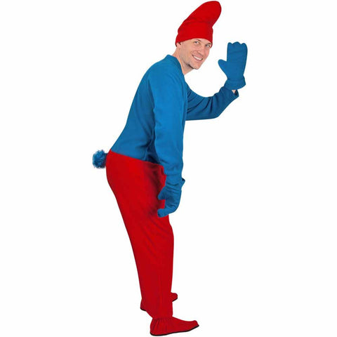 Gnome Adult Footies Costume in Blue and Red - with Accessories - CLOSEOUT -  *Limited Sizes*