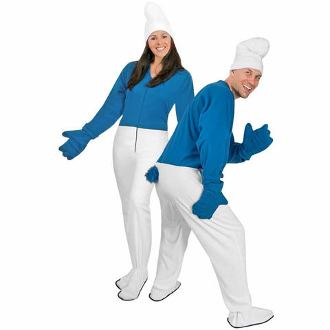 Gnome Adult Footies Costume in Blue and White Fleece - with Accessories - CLOSEOUT -  *Limited Sizes*