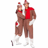 Fleece Adult Sock Monkey Costume with Red Butt Flap - *Limited Sizes*, Pajama City - 1