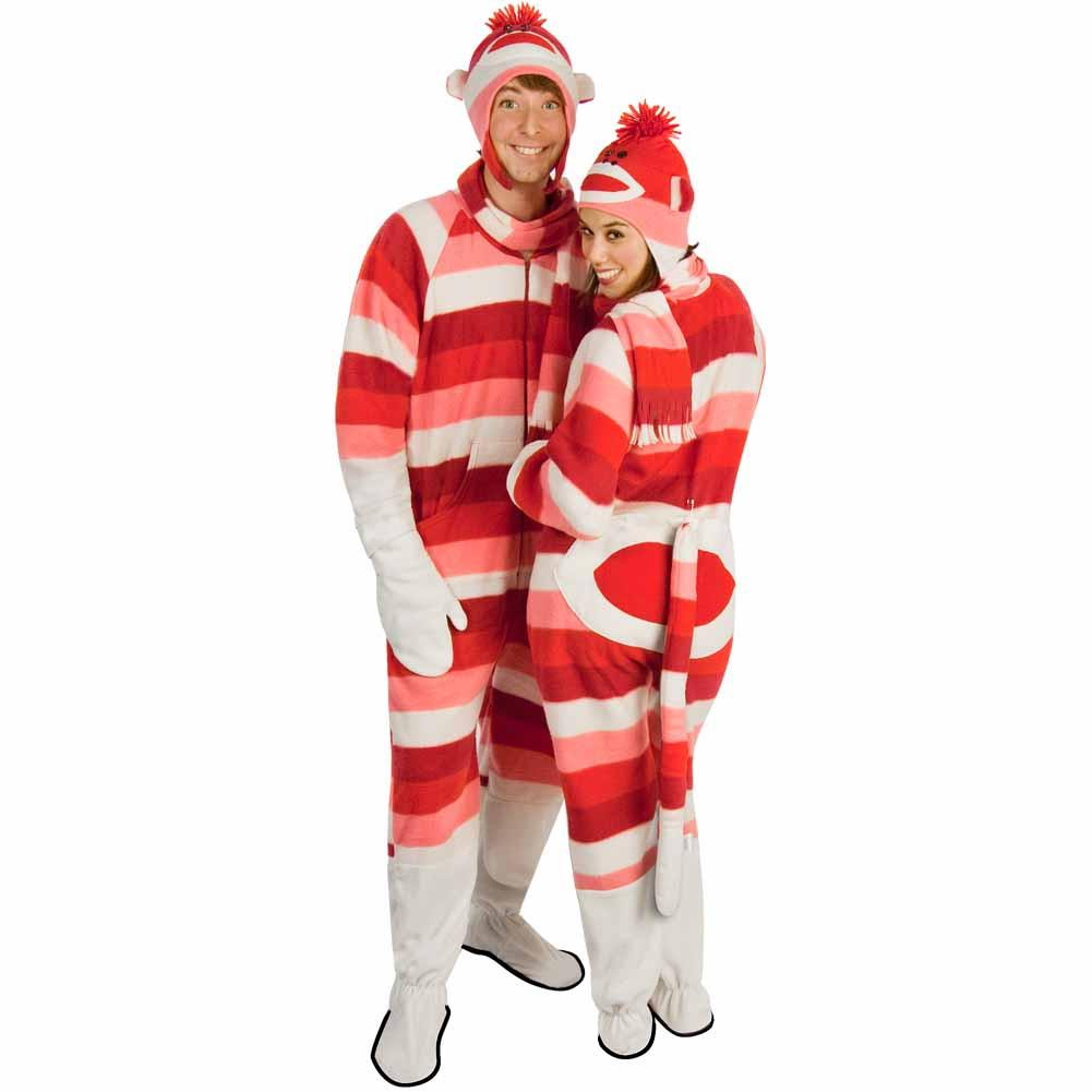 Sock Monkey Costume Fleece Striped Pajamas with Butt Flap, Pajama City - 1
