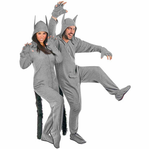 Grey Wolf Adult Halloween Costume Fleece Footed Pajamas Ready to Wear