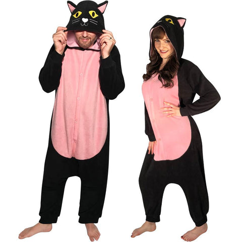 Kigurumi Cat Costume Pajama with Hood, Tail, and Pockets