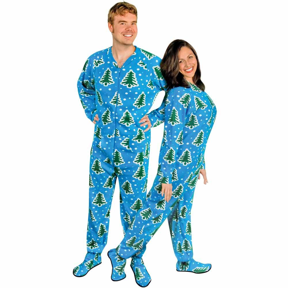 cee3310686d5 Christmas Trees and Snow Adult Footed Pajamas with Drop Seat ...