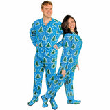 Christmas Trees and Snow Adult Footed Pajamas with Drop Seat, Pajama City - 1