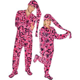 Made in USA Sketchy Hearts Fleece Adult Footed Pajamas with Drop Seat and Long Night Cap, Pajama City - 1