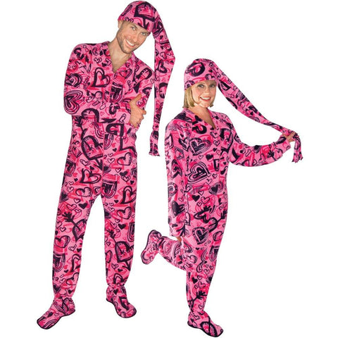 Made in USA Cartoon Hearts Fleece Adult Footed Pajamas with Drop Seat and Long Night Cap