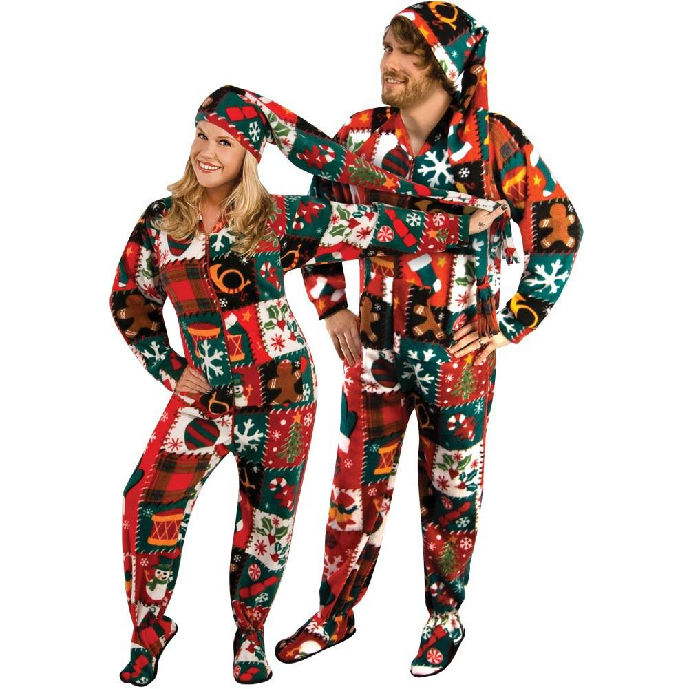 bcab828eb Ugly Christmas Sweater Fleece Drop Seat Footed Pajamas with Long Cap ...