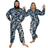 Blue Camouflage Footless Pajamas with Hoodie