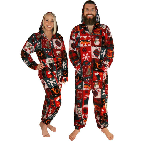 416bc96c63 Ugly Christmas Sweater Footless Pajamas with Hoodie