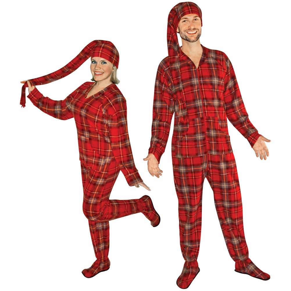 4aaf6d65d Red Plaid Fleece Adult Onesie Footed Pajamas with Drop Seat and Cap ...