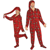 Red Plaid Fleece Adult Footed Pajamas with Drop Seat and Long Night Cap