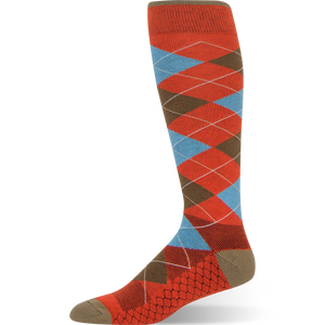 Heritage Argyle - Burnt Orange Argyle Sock - Argoz