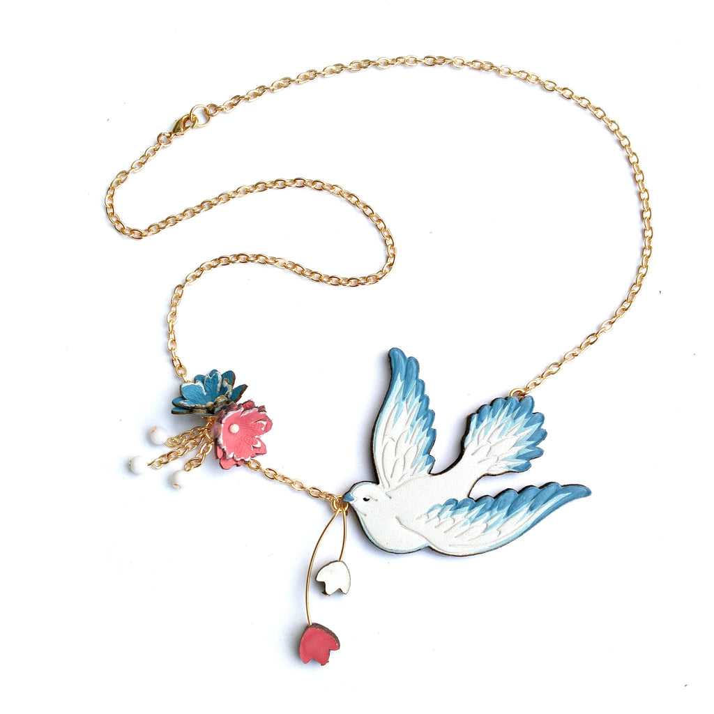 collections love necklace sterling bird silver