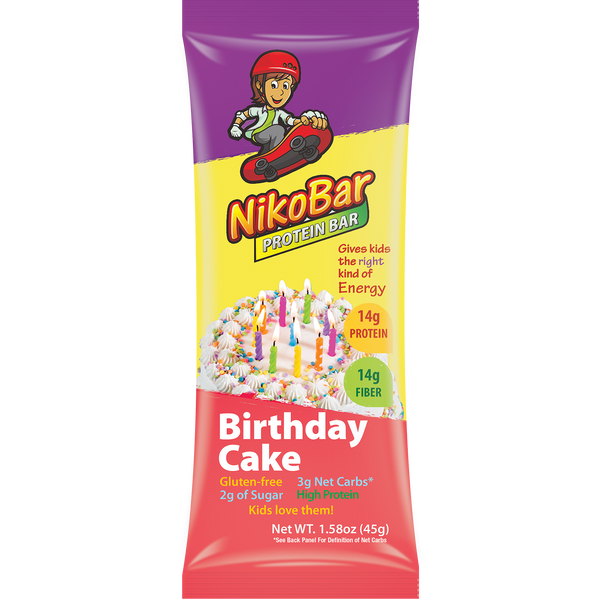 Children's Nutrition Bars: Flavor Birthday Cake NikoBar Box of 12 - NikoBar - 1