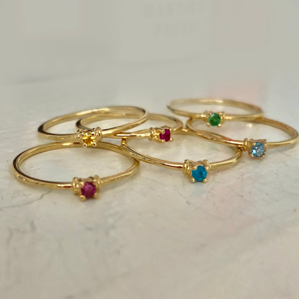 solid goldgemstone drops of jupiter stackable rings