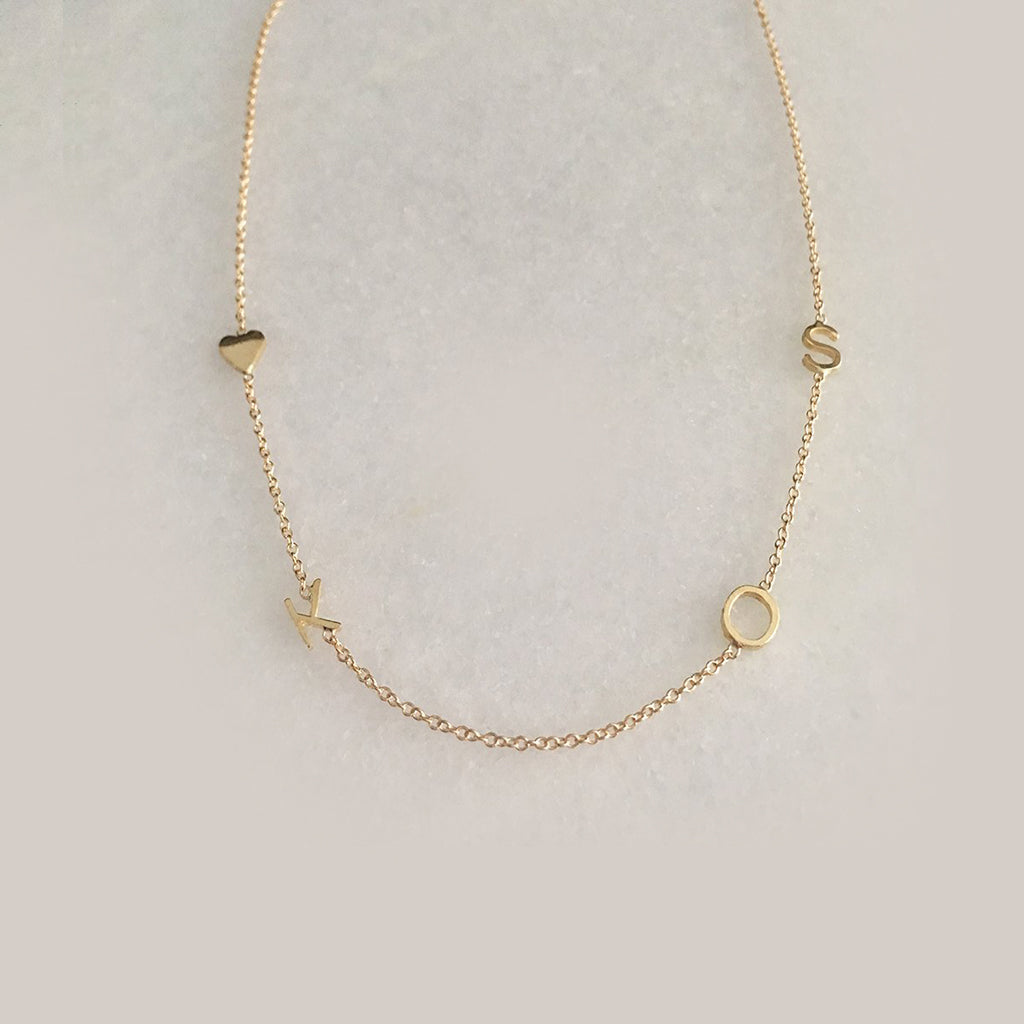 Solid Gold Baby Heart Mini Initial Necklace With Just One