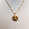 Large Coin Necklace on a Paperclip Chain- 18K Gold Vermeil or British Sterling