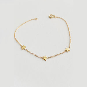 Three Baby Star Bracelet -  Solid Gold
