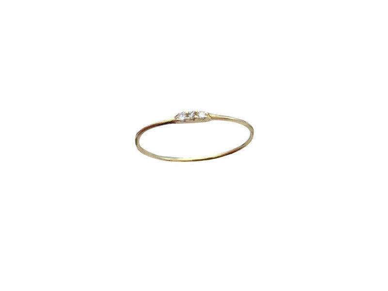 3 Tiny Diamond Stack - Yellow Gold