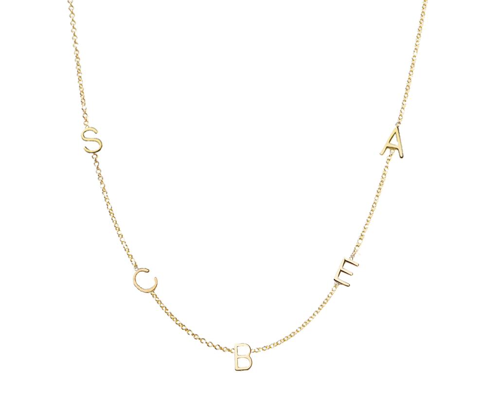 Tiny Initial Necklace - Two Initials- Solid Yellow Gold