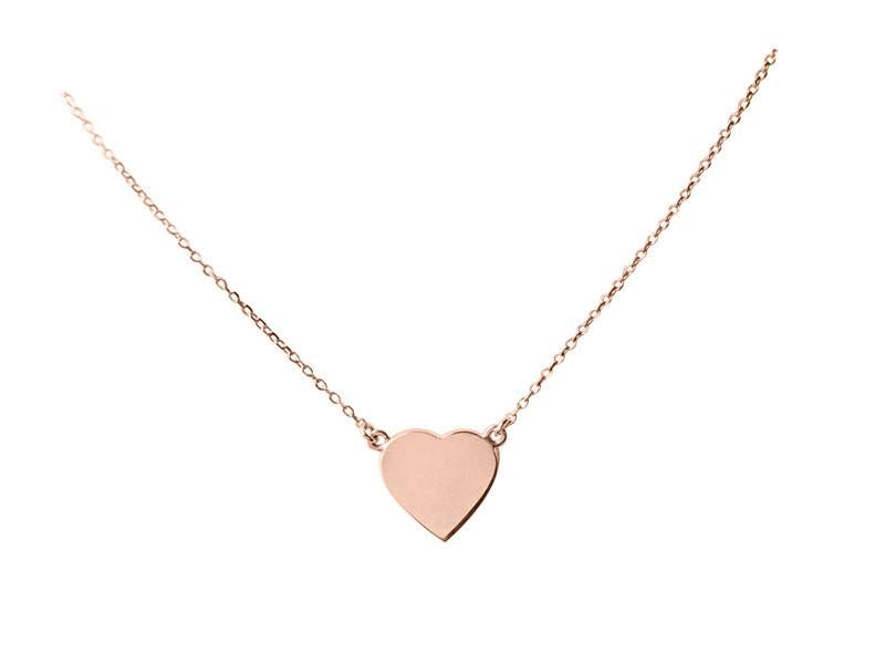 A Simple Heart Necklace - Solid Pink Gold