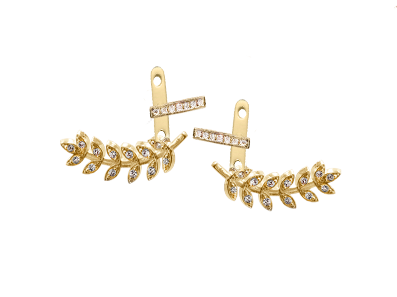 Vine Jacket  Earring- with CZ bar in Solid Gold