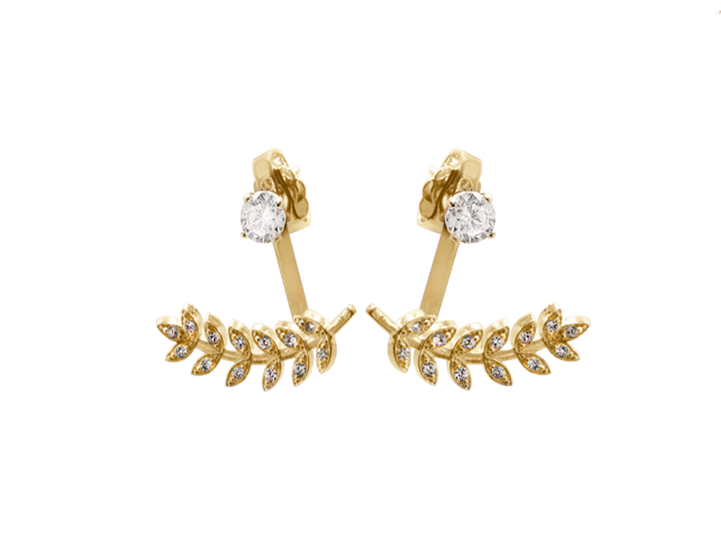 Vine Jacket  Earrings With Small CZ Stud