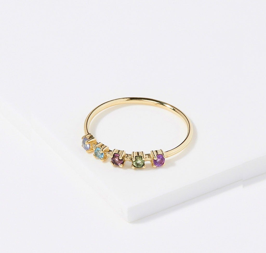 Five Step Ring with Sapphires